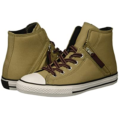 Converse Kids Chuck Taylor All Star Pull-Zip Hi (Little Kid/Big Kid) (Khaki/Dark Burgundy/Black) Boy