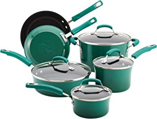 Rachael Ray 12816 Brights Nonstick Cookware Pots and Pans Set, 10 Piece, Fennel Gradient