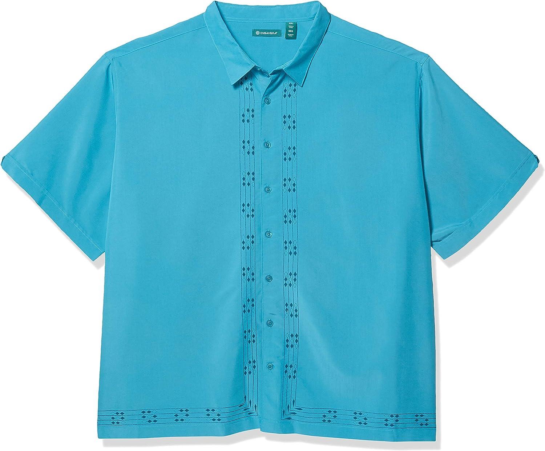 Cubavera Men's Big and Tall Big & Tall Diamond L Shape Print Embroidery Shirt