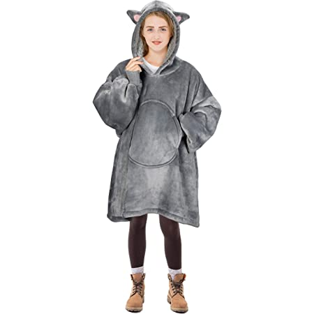 "Oversized Sherpa Hooded Sweatshirt,Wearable 35/"" Red Plaid Details about  / Blanket Sweatshirt"