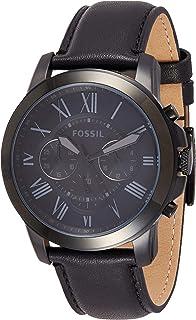 ساعة يد من فوسيل جرانت، سوداء بعقارب وسوار جلدي للرجال - Fs5132