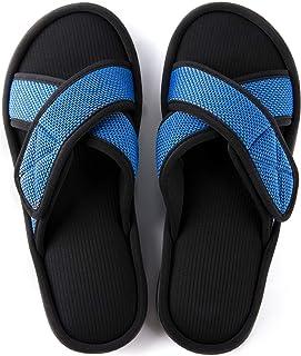 حذاء رجالي من UltraRAIDEAS مصنوع من إسفنج ميموري فوم، حذاء منزلي مفتوح عند الأصابع مع نعل مطاطي مضاد للانزلاق