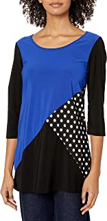 Star Vixen Women's 3/4 Sleeve Scoop Neck Tunic-Length Tri Colorblock Ity Knit Top with Polka Dot Inset
