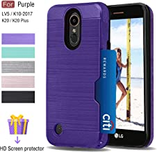 LG K20 V Case,LG Harmony Case,LG K20 Plus Case,LG Grace LTE Case,LG LV5 Case with Card Slots Holder, Atump [HD Screen Protector] [Brushed Metal Texture] Dual Layer Cover for LG K10 2017 Purple