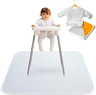 "Pearly Tale Waterproof Baby Splat Mat for Under High Chair (51"" x 51"") with Toddler Smock and Weaning Ebook - Large Non-Sl..."