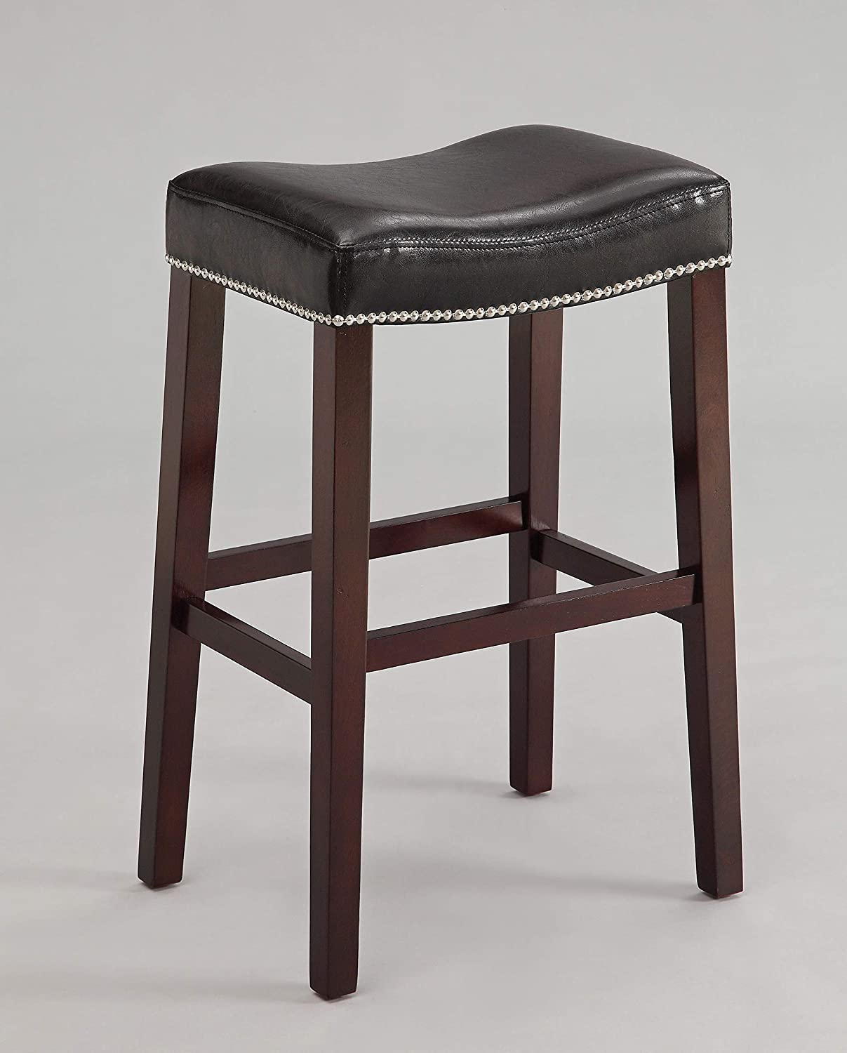 ACME Lewis Bar Stool (Set of 2), Black PU and Espresso