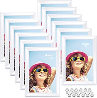Anozie 4X6 Picture Frames(12 Pack,White) Simple Line Moulding Photo Frame Set with HD Real Glass for Tabletop or Wall Moun...