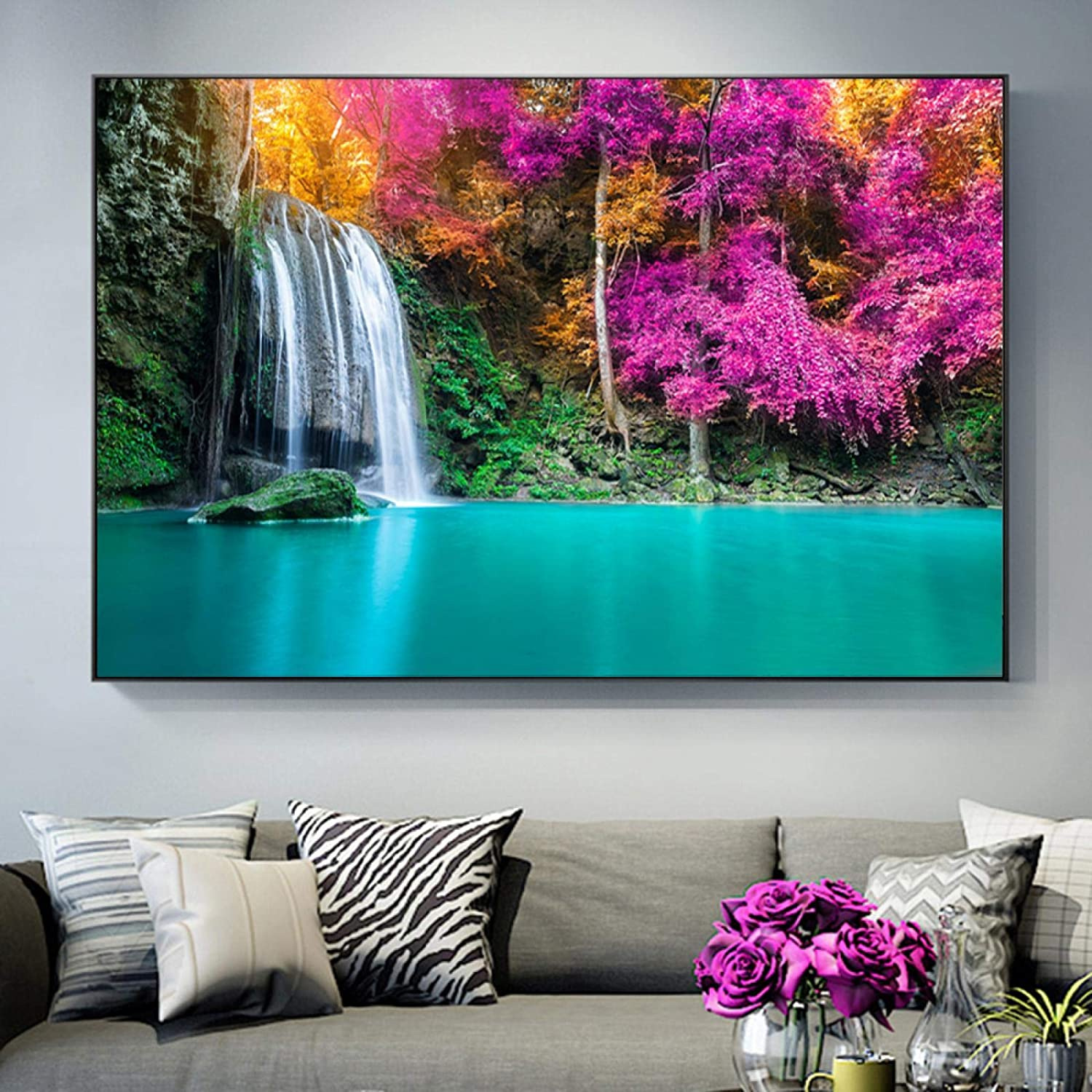 Wall Art Poster Prints Waterfalls Park Landscape Discount mail order Autumn Canvas P New popularity