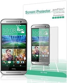 amFilm HTC One M8 Screen Protector 2014 (Verizon/AT&T/Sprint) Premium HD Clear (3-Pack)