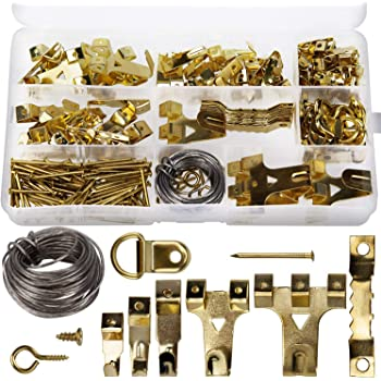 60 PICTURE HANGING KIT Mirror Photo Frame Hooks Brass Nail Wire Set Wall GEMS UK