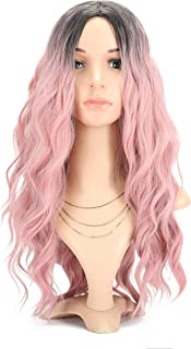 Long Curly Wave Wigs Women's Wig ombre pink color Synthetic Cosplay Wig Pastel Wig for Girl Costume Wigs lovely pink color