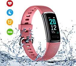 TICTIKY Fitness Tracker,Activity Trackers Watch with Heart Rate Monitor,Waterproof Smart Fitness Band with Step Counter,Calorie Counter,Sleep Monitor,Pedometer Watch for Kids Women and Men (Pink)