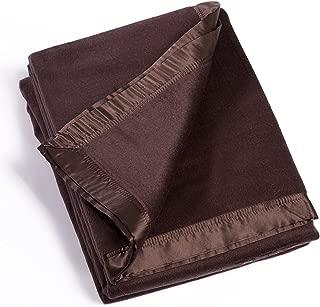 Fishers Finery Microfiber Fleece Blanket with 100% Silk Trim (Chocolate, Twin)