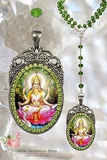 Saraswati Vandana Rosary Goddess - Handmade Hindu Jewelry Medal Pendant Sarasvati