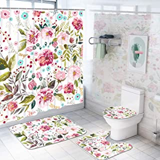 4 Piece Flower Shower Curtain Sets with Non-Slip Rug, Toilet Lid Cover, Bath Mat and 12 Hooks, Colorful Floral Shower Curtain, Durable Waterproof Bath Curtain