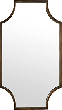 Amazon Brand – Stone & Beam Antique-Style Metal Frame Hanging Wall Mirror Decor, 32 Inch Height, Brown