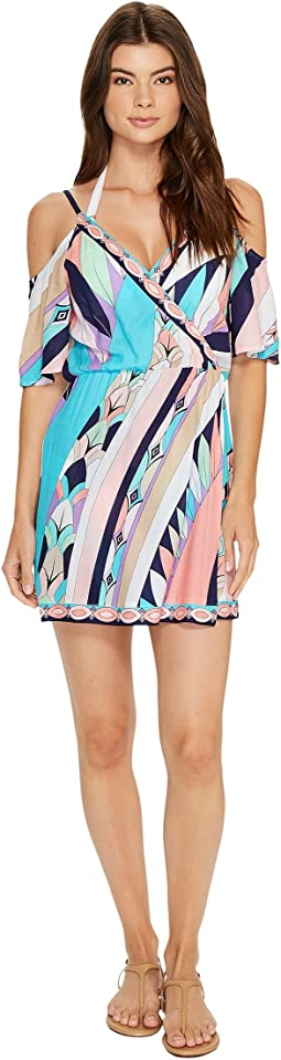Electric Wave Cold Shoulder Wrap Tunic Cover-Up