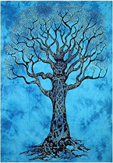 Aunercart Turquoise Tree of Life Tapestry Good Luck Quality Home Decor Dorms Psychedelic Hippie Contemporary Canvas Wall Hanging Art The Ultimate Bohemian Tapestry Decor