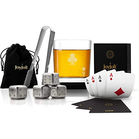 JoyJolt Poker Whiskey Glass Set - Ace of Clubs Semi Square Rocks Glass Tumbler, 4x Dice Whiskey Stones, Dice Bag, Playing Cards Deck, Mini Tongs for Reusable Ice Cubes. Cool Whiskey Gifts for Men