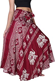 Women's Long Maxi Bohemian Hippie Skirt Boho Dresses Elephant One Size Asymmetric Hem Design