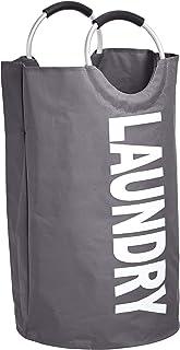 Amazon Basics Panier à linge en tissu avec poignée en aluminium, Gris foncé