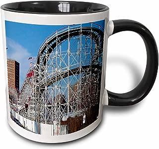 3dRose Coney Island Roller Coaster Two Tone Black Mug, 11 oz, Black/White