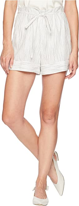 Ticking Stripe Belted Cuffed Shorts
