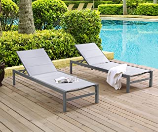 Ulax Furniture Patio Outdoor Aluminum Chaise Lounge Chair Adjustable Recliner with Wheels and Quick Dry Foam (Set of 2, Light Grey)