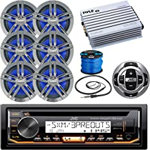 """JVC KDR85MBS Marine Stereo Receiver Bundle Combo with Remote Control + 6X Enrock Black/Chrome 6.5"""" Boat Speaker + Waterproof Amplifier + Radio Wire Antenna + 50 Foot 16g Speaker Wire (Chrome/Black)"""