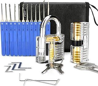 IPSXP zestaw wytrychów, 17 sztuk i 2 sztuki przezroczystych zamków treningowych ze skórzanym pokrowcem, narzędzie dla ślus...