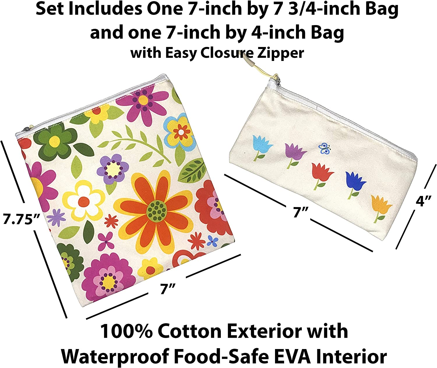 Wolla Pouch Reusable Sandwich Bags 2-Pack - Eco Friendly Reusable Snack Bags Washable and Dishwasher Safe - Snack Bags BPA Free - Reusable Snack Bags for Kids -7X7 and 7X4 inch bags (Flowers)
