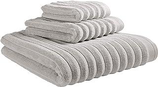 Amazon Brand – Rivet Chunky Rib Casual Bath Towel, Hand Towel, and Washcloth Set - Set of 3, Glacier Grey