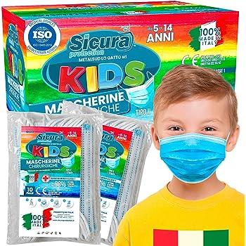 50 Mascherine Chirurgiche per Bambini Certificate CE Tipo II BFE ≥ 98% Prodotte in Italia - Mascherina Italiana monouso con elastici e nasello regolabile - 5 confezioni da 10 [50 Pezzi]