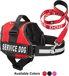 Industrial Puppy Service Dog Vest with Hook and Loop Straps & Matching Service Dog Leash Set - Harnesses from XXS to XXL - Service Dog Harness Features Reflective Patch and Comfortable Mesh Design