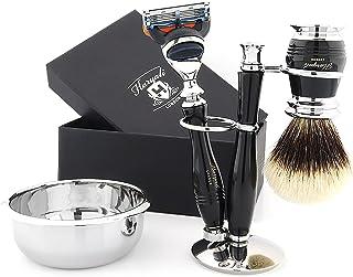 Zestaw szczotek do golenia ze srebrnymi końcówkami – najwyższej jakości metalowy uchwyt zestaw do golenia z chromowanymi a...