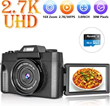 $79 » Digital Camera Vlogging Camera with 3.0inch Flip Screen, 2.7K HD Video Camera with Flashlight, 16X Powerful Zoom, Suitable for Wedding, Trip, Vlogging, Recording Life
