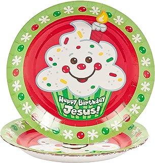 Fun Express - Happy Birthday Jesus Cupcake Dessert Pla for Christmas - Party Supplies - Print Tableware - Print Plates & Bowls - Christmas - 9 Pieces