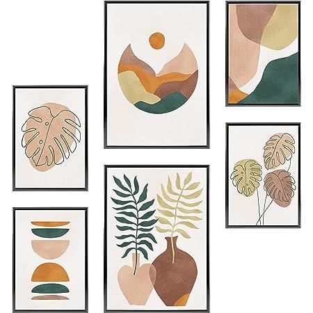 Heimlich® Tableau Décoration Murale - sans Cadres - Set de Poster Premium pour la Maison, Bureau, Salon, Chambre, Cuisine - 2 x (30x42cm) et 4 x (21x30cm)   »Monstera Palm Abstract «
