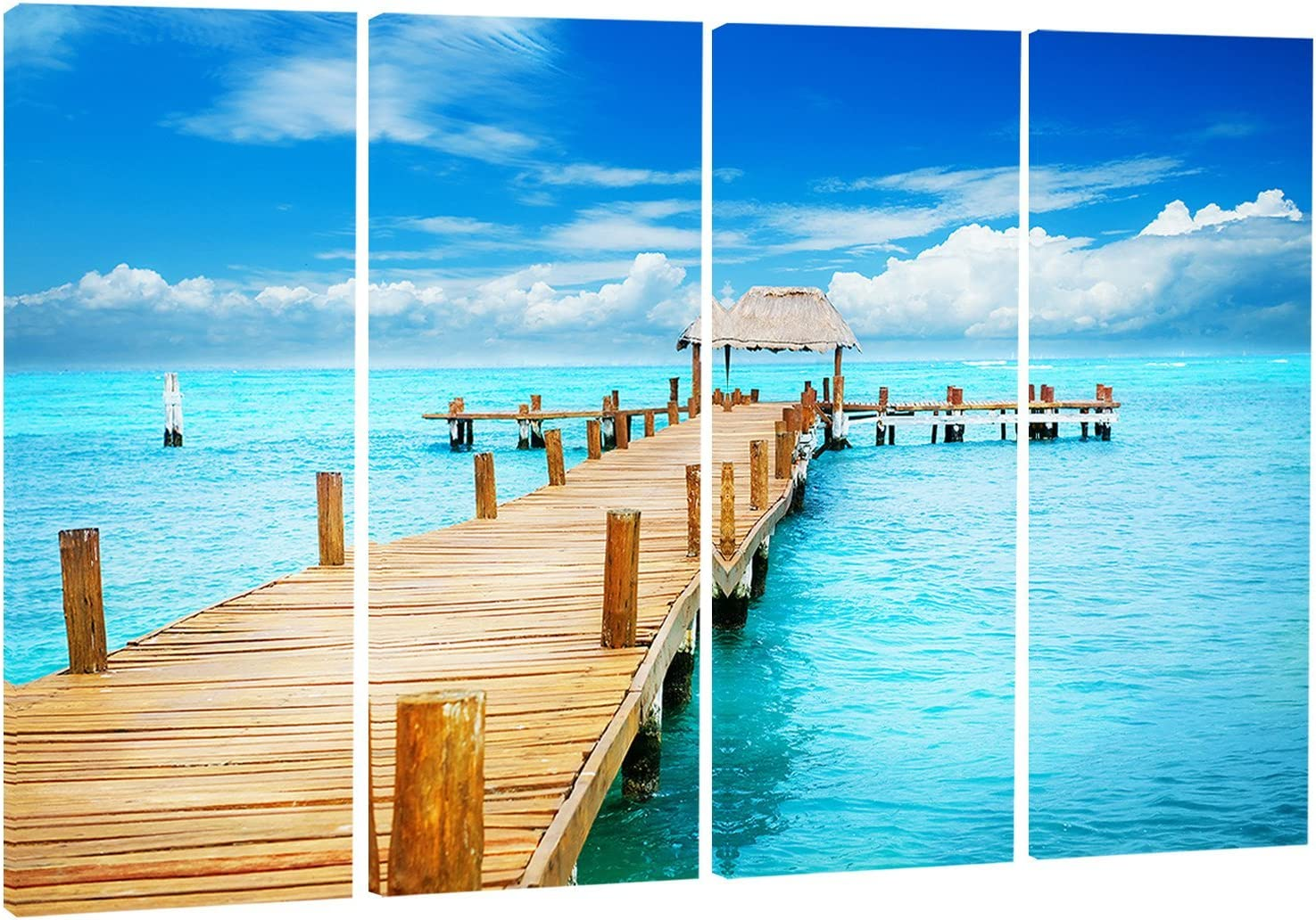 Designart Tropic Paradise Jetty in Mexico-Seascape Photo Metal Wall Art-MT8633-48x28-4 Panels 28 H/ x/ 48 W/ x/ 1 D 4P
