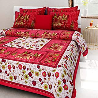 Ansh Collections Bedsheet 100% Cotton Rajasthani Jaipuri Sanganeri Traditional Double Bed Sheet with 2 Pillow Covers