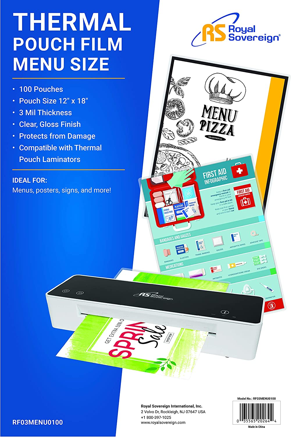 100 Pack Menu Size Clear Gloss 18 x 12 x 0.6 Inches New Version 3 Mil Thermal Laminating Pouches RF03MENU0100