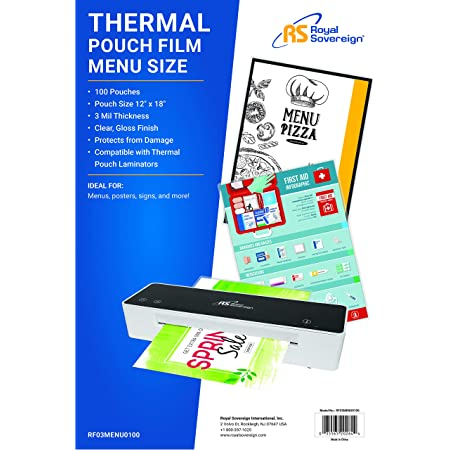 """Royal Sovereign 3 Mil Thermal Laminating Pouches, 100 Pack, Menu Size, 18"""" x 12"""" x 0.6"""" Inches, Clear Gloss (RF03MENU0100)"""