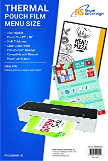 "Royal Sovereign 3 Mil Thermal Laminating Pouches, 100 Pack, Menu Size, 18"" x 12"" x 0.6"" Inches, Clear Gloss (RF03MENU0100)"