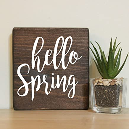 """Hello Spring Small Rustic Wooden Sign 5""""X5"""""""