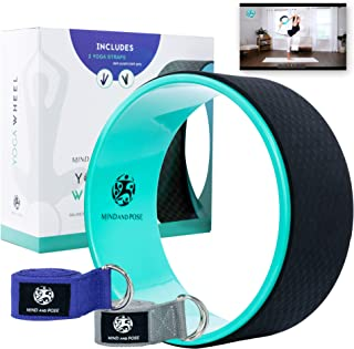 Mind and Pose Dharma Yoga Wheel Prop Roller with 2 Fitness Straps– Aids with Stretching, Reduces Back Pain, Improves Balan...