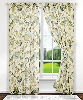 Ellis Curtain Brissac Tailored Panel Pair with Tiebacks, 70 x 63, Blue