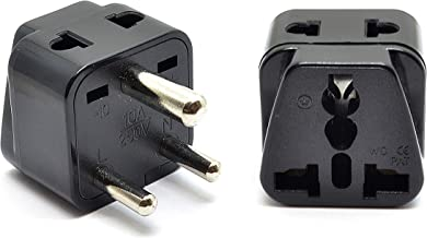Orei 2 in 1 USA to India Adapter Plug (Type D) - 2-Pack, Black - Will Not Convert Voltage