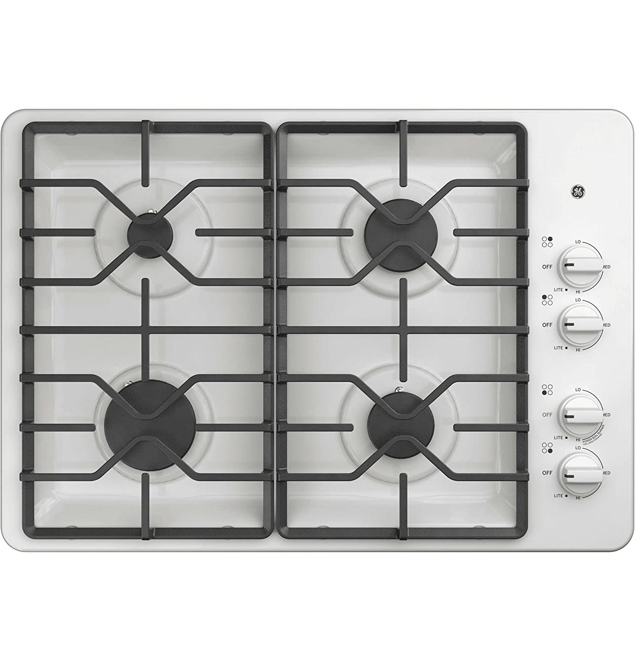 GE JGP3030DLWW 30 Inch Gas Cooktop with MAX System, Power Broil, Simmer, Continuous Grates, Sealed Burners and ADA Compliant