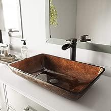 VIGO Rectangular Russet Glass Vessel Bathroom Sink and Niko Vessel Faucet with Pop Up, Antique Rubbed Bronze