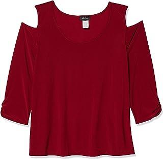 Star Vixen Women's Plus-Size Long Sleeve Cold Shoulder Super Soft Top